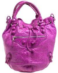 Balenciaga Bubble Gum Leather Gsh Pompon Hobo - Pink
