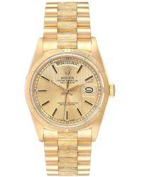 Rolex Champagne 18k Yellow Gold Day-date 18248 Men's Wristwatch 36 Mm - Metallic