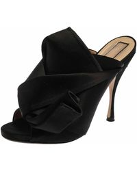N°21 - Black Satin Raso Knot Peep Toe Mules - Lyst