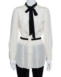 Dolce & Gabbana Cream Silk & Lace Contrast Neck Tie Detail Tunic - Multicolor