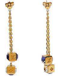 Louis Vuitton Gamble Crystal Gold Tone Drop Earrings - Metallic