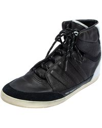 Y-3 X Adidas Yojhi Yamamoto Black/white Leather And Suede Honja High Top Trainers
