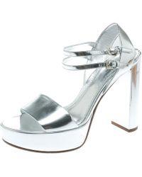 4380e0532d70 Dorothy Perkins · Louis Vuitton - Metallic Silver Patent Leather Showcase  Platform Sandals Size 39 - Lyst