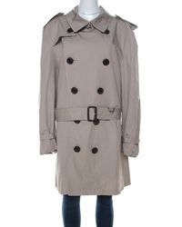 Burberry Brit Beige Cotton Twill Double Breasted Belted Trench Coat - Natural