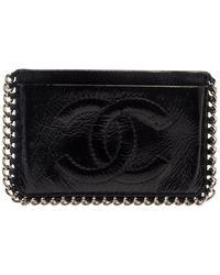 Chanel Black Patent Leather Cc Chain Around Card Case