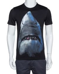Givenchy Black Cotton Shark Print Cuban Fit T Shirt