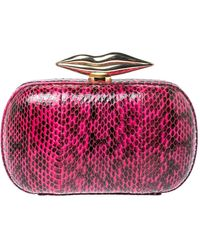 Diane von Furstenberg Magenta/black Python Flirty Minaudiere Chain Clutch - Pink