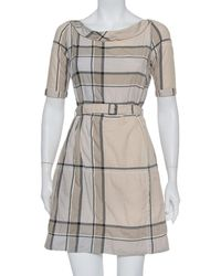 Burberry Brit Beige Chequered Pattern Cotton Belted Mischa Dress - Natural