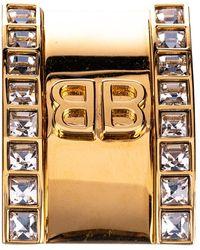 Balenciaga Gold Logo Clip Ear Cuff - Metallic