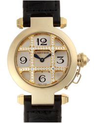 Cartier - Silver 18k Yellow Gold Diamond And Leather Pasha Dome Grid Wj11951g Women's Wristwatch 32mm - Lyst