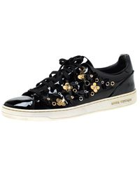 Louis Vuitton Black Patent Leather Frontrow Blossom Floral Embellished Low Top Sneakers Size 40