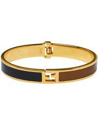 Fendi - Bicolor Enamel Gold Tone Sta Bracelet - Lyst