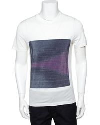 Louis Vuitton White Cotton Ikat Patch Front T-shirt