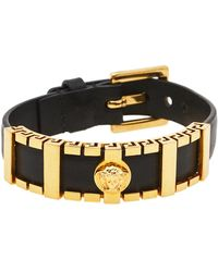 Versace Black Leather Medusa Plaque Wrap Bracelet