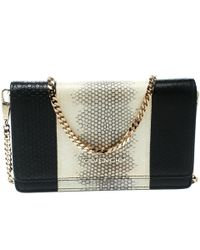 Givenchy Monochrome Python Embossed Leather Clutch - Black