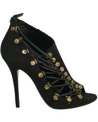 Balmain Black Linen And Brass Boots