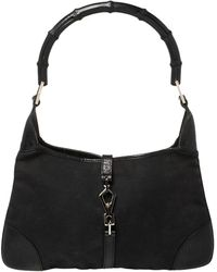 Gucci Black Canvas And Leather Jackie O Bamboo Hobo