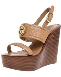 Tory Burch Brown Leather Selma Logo Wedges Platform Sandals
