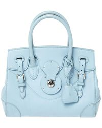 Ralph Lauren Light Blue Leather Soft Ricky Tote