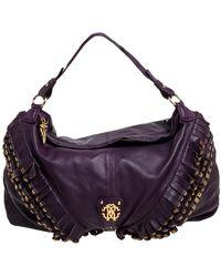 Roberto Cavalli Purple Leather Studded Fringe Hobo