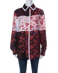 Preen By Thornton Bregazzi Red Floral Print Crepe Button Down Shirt
