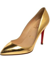 Christian Louboutin Gold Patent Leather Pigalle Court Shoes - Metallic