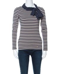 Carolina Herrera Ch Blue And Beige Striped Cotton Jersey Necktie Detail Top Xs