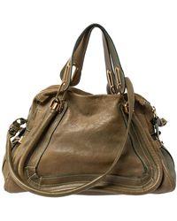 Chloé Olive Green Leather Medium Paraty Shoulder Bag
