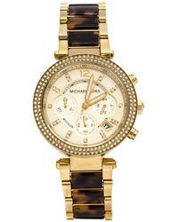 Michael Kors Yellow Gold Plated Stainless Steel Tortoise Parker Mk5688 Women's Wristwatch 39 Mm - Metallic