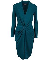 Lanvin Teal Blue Wool Twist Front Long Sleeve Dress M