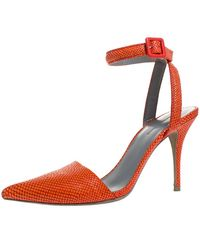 Alexander Wang Orange Snake Embossed Leather Lovisa Pointed Toe Ankle Strap Sandals Size 37