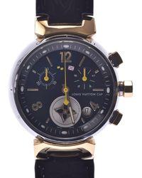 Louis Vuitton Black Stainless Steel Tambour Chrono Lv Cup Q1325 Quartz Wristwatch