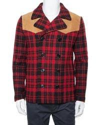 Saint Laurent Red & Black Tartan Plaid Wool & Leather Caban Coat