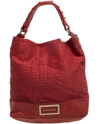Givenchy Red Monogram Canvas And Leather Hobo