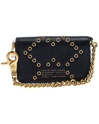 Marc By Marc Jacobs Black Leather Grommet Embellished Compact Zip Around Wallet