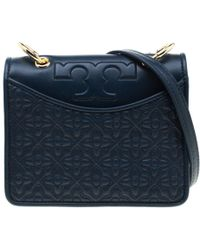 2d727e6e42 Tory Burch Marion Quilted Flannel Mini Bucket Bag in Blue - Lyst