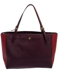 Tory Burch Burgundy/red Saffiano Leather Emerson Buckle Tote - Multicolour