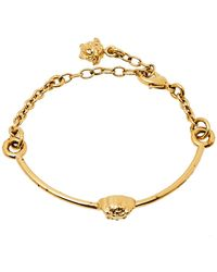 Versace Gold Tone Medusa Chain Link Cuff Bracelet - Metallic