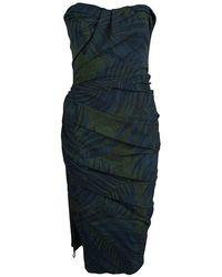 Lanvin Bottle Green Palm Leaf Print Strapless Ruched Midi Dress M