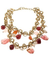 Oscar de la Renta Multi Stone Faux Pearl Gold Tone Two Strand Necklace - Metallic