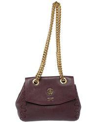 Roberto Cavalli Burgundy Leather Chain Shoulder Bag - Multicolour