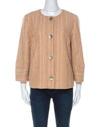 M Missoni - Beige Silk Blend Boucle Knit Three Quarter Sleeve Jacket - Lyst