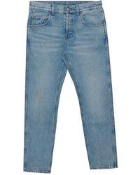 Gucci Blue Denim Loved Applique Detail Straight Leg Jeans