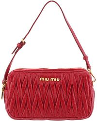 Miu Miu Red Leather Matelasse Mini Crossbody Bag
