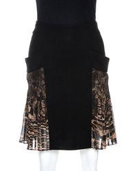 Roberto Cavalli Black Crepe Pleated Print Panel Detail Skirt