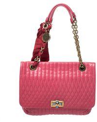 Lanvin Magenta Leather Happy Shoulder Bag - Pink