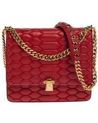 Roberto Cavalli Red Quilted Leather Flap Shoulder Bag