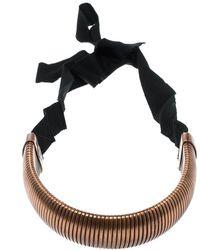 Lanvin Flexible Bronze Tone Tube Black Ribbon Tie-up Necklace - Metallic