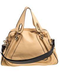 Chloé Beige Leather Medium Paraty Shoulder Bag - Natural
