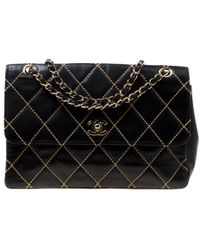 ee4c2640495 Chanel - Black Quilted Leather Wild Stitch Surpique Flap Bag - Lyst